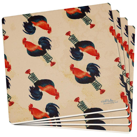 Spring Chicken Antique Halftone Set of 4 Square Sandstone Coasters