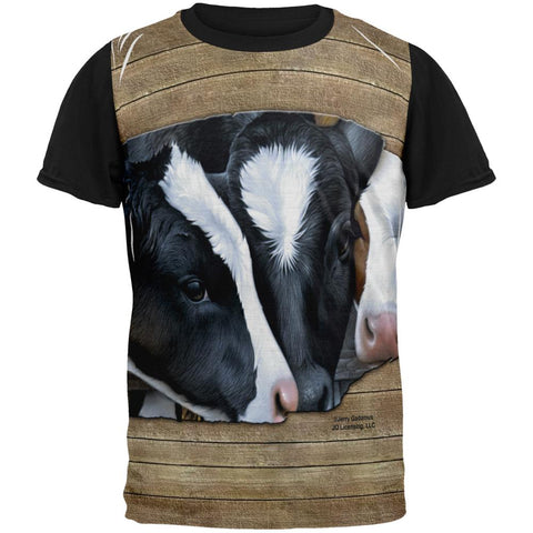 Queens of the Dairy Farm Cows All Over Mens Black Back T Shirt