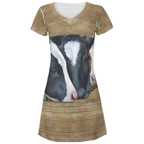 Queens of the Dairy Farm Cows All Over Juniors V-Neck Dress