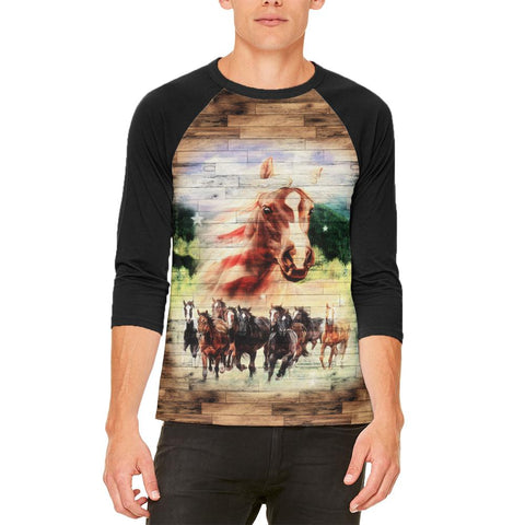 4th of July Wild Horse Mustang Patriot Mens Raglan T Shirt