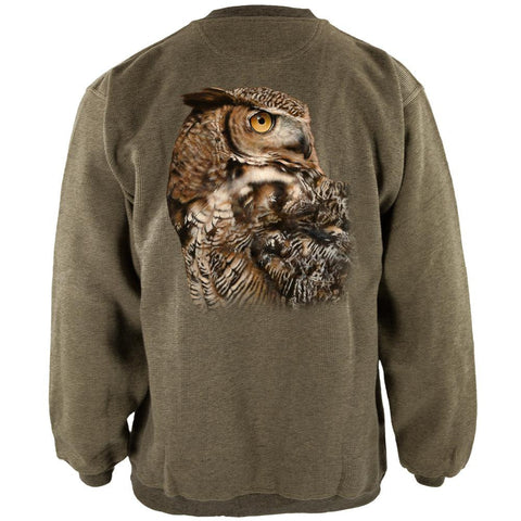 Owl Keep Watching Henley Mens Pullover Sweatshirt