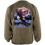 4th Of July American Flag Bald Eagle Henley Mens Pullover Sweatshirt