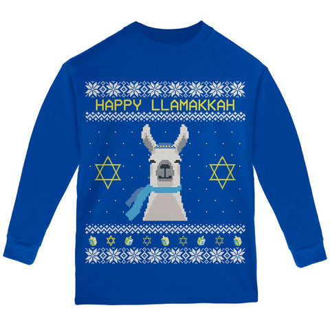 Llama Llamakkah Ugly Hanukkah Sweater Youth Long Sleeve T Shirt