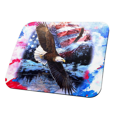 4th of July American Flag Bald Eagle Splatter All Over Mouse Pad