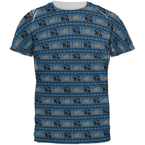 Grizzly Bear Adirondack Pattern Blue All Over Mens T Shirt