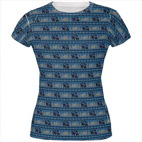Grizzly Bear Adirondack Pattern Blue All Over Juniors T Shirt