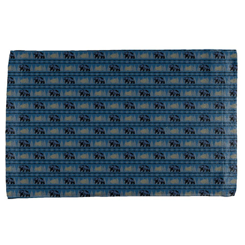 Grizzly Bear Adirondack Pattern Blue All Over Hand Towel