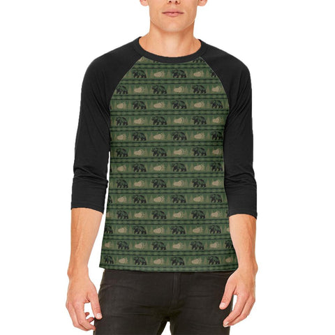 Grizzly Bear Adirondack Pattern Green Mens Raglan T Shirt