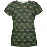 Grizzly Bear Adirondack Pattern Green All Over Womens T Shirt