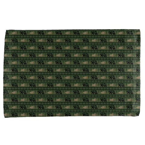 Grizzly Bear Adirondack Pattern Green All Over Hand Towel