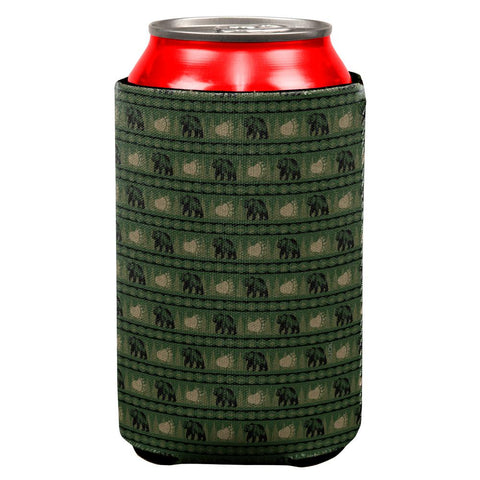 Grizzly Bear Adirondack Pattern Green All Over Can Cooler
