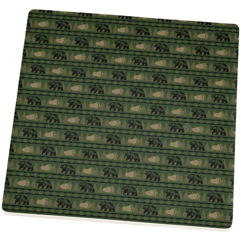 Grizzly Bear Adirondack Pattern Green Square Sandstone Coaster