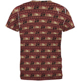 Grizzly Bear Adirondack Pattern Red All Over Mens T Shirt