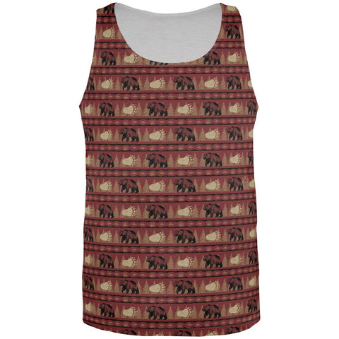Grizzly Bear Adirondack Pattern Red All Over Mens Tank Top