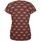 Grizzly Bear Adirondack Pattern Red All Over Womens T Shirt
