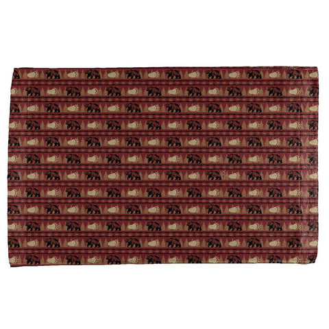 Grizzly Bear Adirondack Pattern Red All Over Hand Towel
