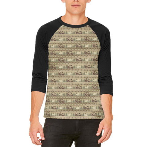 Grizzly Bear Adirondack Pattern Tan Mens Raglan T Shirt