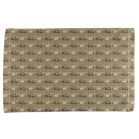 Grizzly Bear Adirondack Pattern Tan All Over Hand Towel