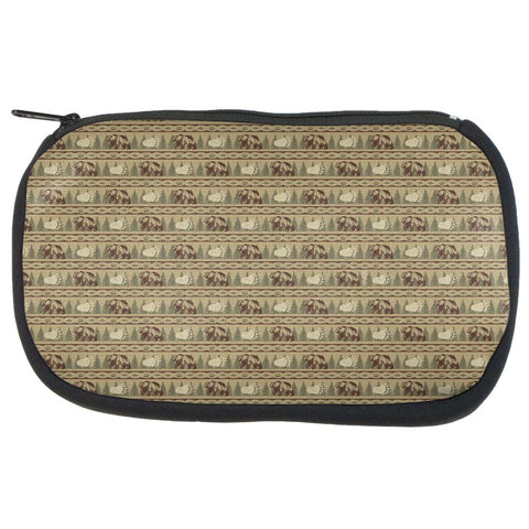 Grizzly Bear Adirondack Pattern Tan Makeup Bag