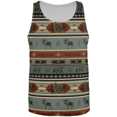 Adirondack Bear Moose Pattern All Over Mens Tank Top