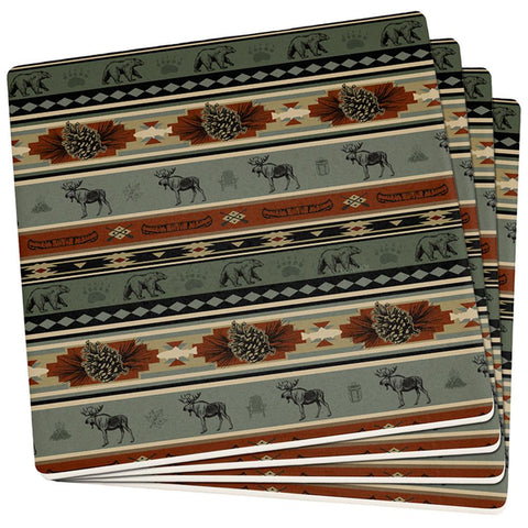 Adirondack Bear Moose Pattern Set of 4 Square Sandstone Coasters