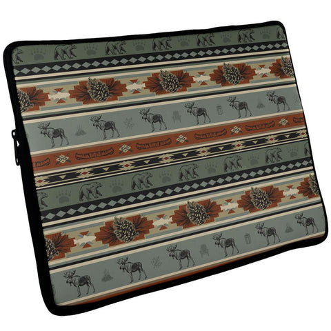 Adirondack Bear Moose Pattern Laptop Sleeve 17 inch
