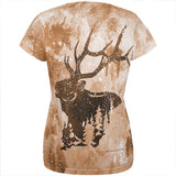 Distressed Brown Elk Silhouette All Over Womens T Shirt