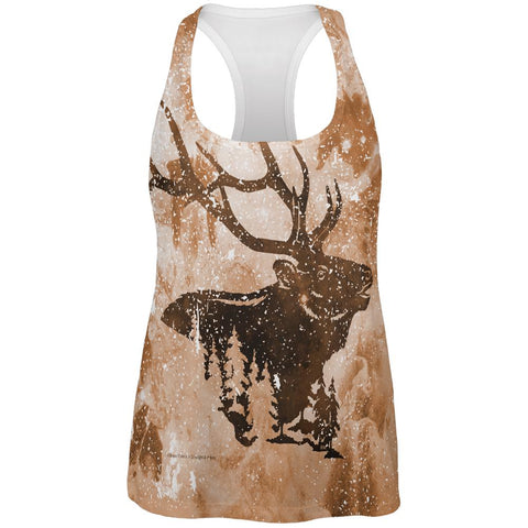 Distressed Brown Elk Silhouette All Over Womens Work Out Tank Top