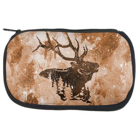 Distressed Brown Elk Silhouette Makeup Bag