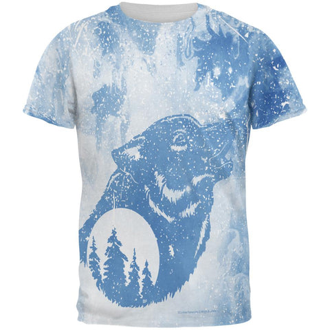 Distressed Blue Howling Wolf Silhouette All Over Mens T Shirt