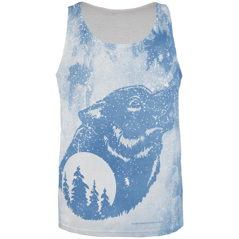 Distressed Blue Howling Wolf Silhouette All Over Mens Tank Top