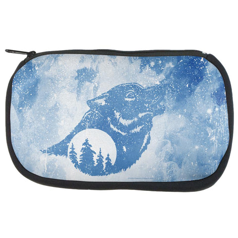 Distressed Blue Howling Wolf Silhouette Makeup Bag