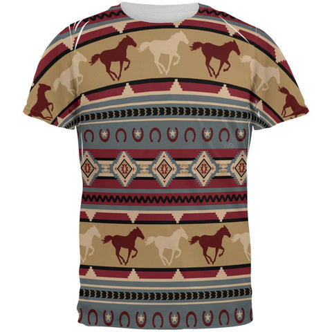 Southwestern Wild Horses Pattern All Over Mens T Shirt
