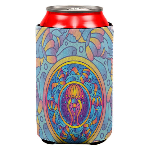 Mandala Trippy Stained Glass Jellyfish All Over Can Cooler