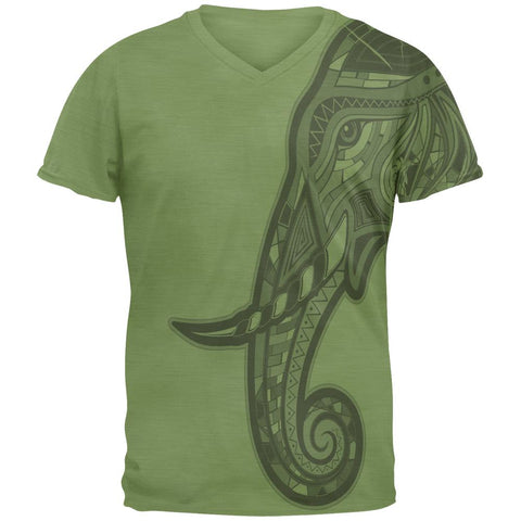 Tribal Mosaic Elephant Mens V-Neck T Shirt