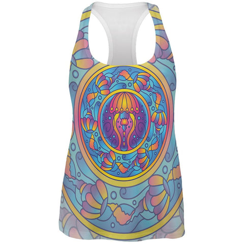 Mandala Trippy Stained Glass Jellyfish All Over Womens Work Out Tank Top