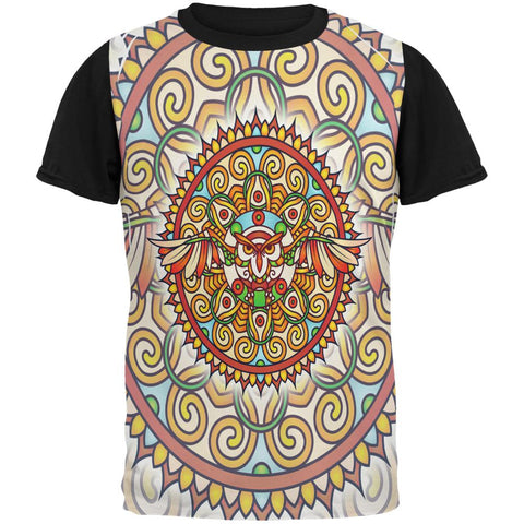 Mandala Trippy Stained Glass Owl All Over Mens Black Back T Shirt