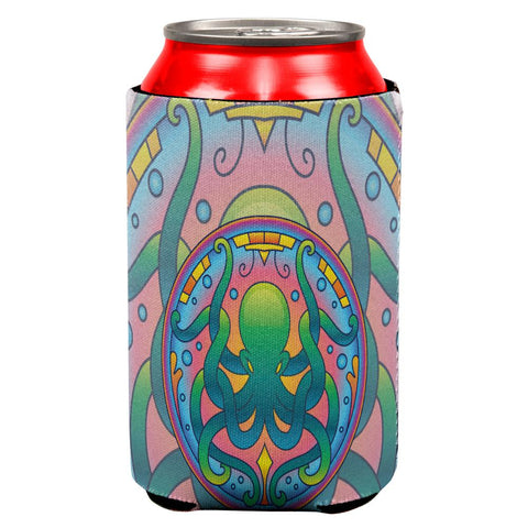 Mandala Trippy Stained Glass Octopus All Over Can Cooler