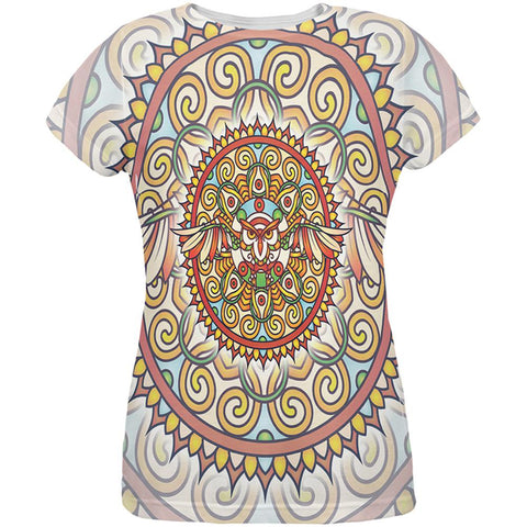 Mandala Trippy Stained Glass Owl All Over Womens T Shirt