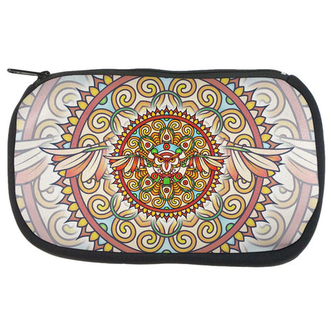 Mandala Trippy Stained Glass Owl Makeup Bag