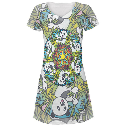 Mandala Trippy Stained Glass Panda All Over Juniors V-Neck Dress