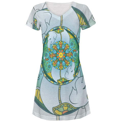 Mandala Trippy Stained Glass Elephant All Over Juniors V-Neck Dress