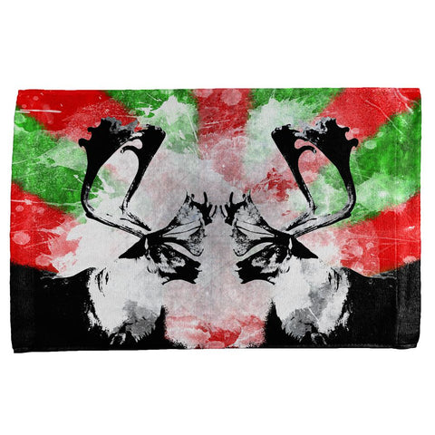 Christmas Reindeer Distressed Splatter All Over Hand Towel
