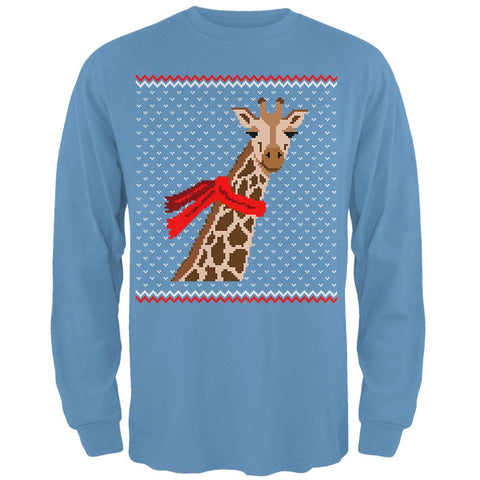 Big Giraffe Scarf Ugly Christmas Sweater Mens Long Sleeve T Shirt
