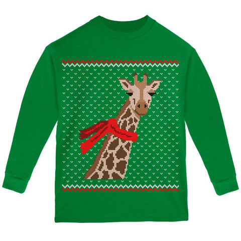 Big Giraffe Scarf Ugly Christmas Sweater Youth Long Sleeve T Shirt