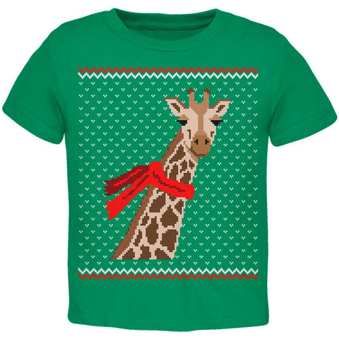 Big Giraffe Scarf Ugly Christmas Sweater Toddler T Shirt