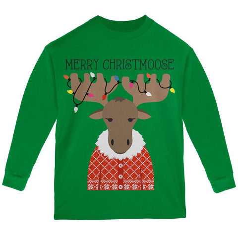 Christmas Merry ChristMoose Moose Youth Long Sleeve T Shirt