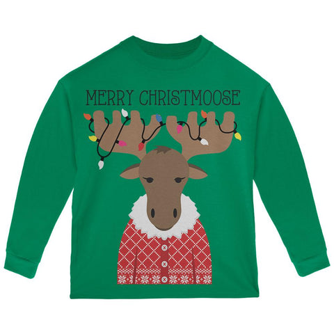 Christmas Merry ChristMoose Moose Toddler Long Sleeve T Shirt