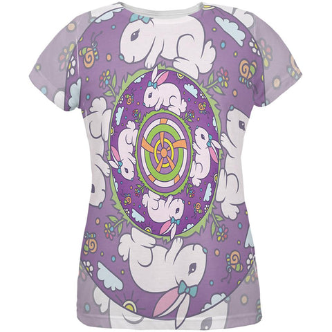 Mandala Trippy Stained Glass Easter Bunny All Over Womens T Shirt