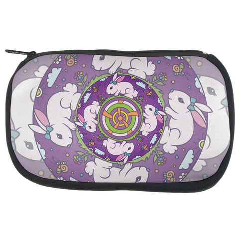 Mandala Trippy Stained Glass Easter Bunny Makeup Bag